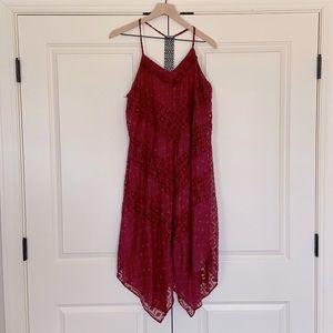 Red Sleeveless Eyelet Dress